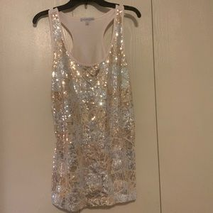 Tan Sequins Pattern Tank